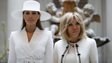 US first lady Melania Trump and French first lady Brigitte Macron visited a gallery together during the state visit.