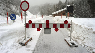 A mountain pass road is closed in Obermaiselstein, Germany on Sunday due to the risk of avalanches.