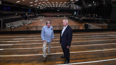 Interiors such as the timber floors and wooden bleachers, where Chris and John Wren are pictured standing, are deemed to be of cultural significance.