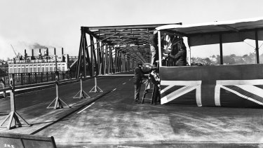 Preparations for the opening of the  Iron Cove Bridge