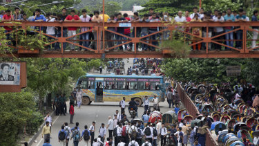 Bangladeshi students block a road during a protest in Dhaka last Wednesday.