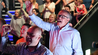Scott Morrison and wife Jenny at his Horizon Church in Sydney during the 2019 election campaign.