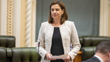 Queensland Opposition Leader Deb Frecklington speaks during question time earlier this month.