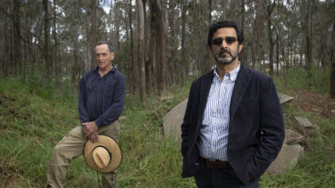 Riverstone land owners Gaurav Dutt (right) and Frank Jones on their land which was illegally dumped on.
