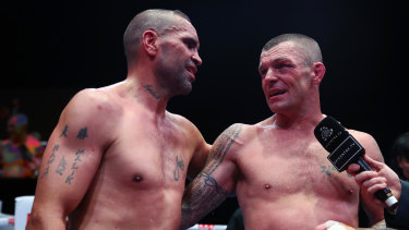 Mundine and Wayne Parr are interviewed after their fight.
