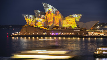 Opera House honours the hard work of firefighters during the current bushfire season.