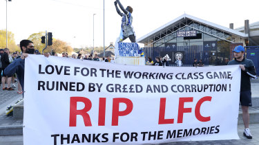 Fans make their feelings known in Leeds, England.