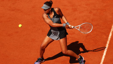 Naomi Osaka in her first round match at the French Open.