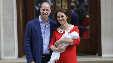 Style file ... the Duchess of Cambridge chose a Jenny Packham dress for all three 'baby reveal' photos.
