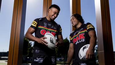 Jarome Luai (right) has re-signed with the Panthers just two days after Stephen Crichton also re-committed.