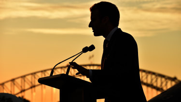 French President Emmanuel Macron makes a speech about the Indo-Pacific on board the Australian ship HMAS Canberra in Sydney in 2018.