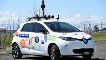 The Renault ZOE electric car fitted out with sensors and cameras for the joint QUT-Queensland GovernmentCooperative and Highly Automated Driving (CHAD) pilot program.