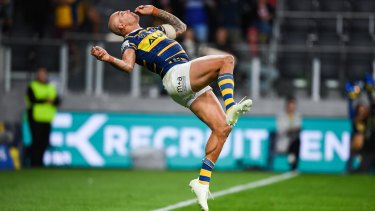 Blake Ferguson flips out after scoring a spectacular try in the Eels win at Bankwest Stadium.