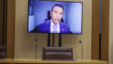 Kristian Aquilina, GM Holden Interim Chairman and Managing Director, appearing via videoconference during a Senate hearing on General Motors Holden Operations in Australia.