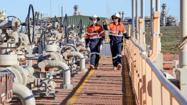 Technicians at Chevron's carbon capture and storage project at the Gorgon LNG site on Barrow Island off WA.