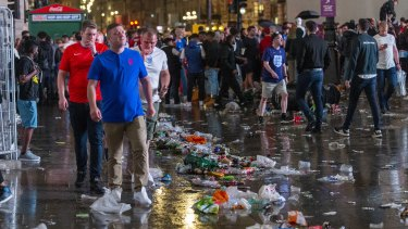 England fans take to the street after Italy's team claimed victory over England in the UEFA Euro 2020 final.