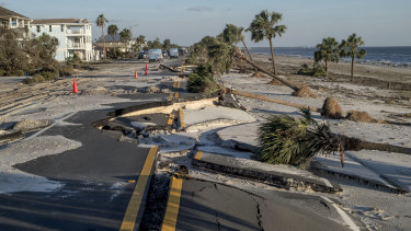 A section of State Highway 38 is destroyed after Hurricane Michael hit in Mexico Beach, Florida.