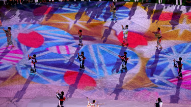 Entertainers perform during the Closing Ceremony.