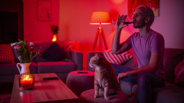Drinking more while in isolation: Matthew Sherwood in his Rose Bay apartment with his cat Archie.