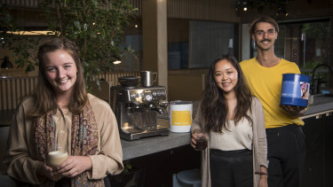 Directors, from left, Brianna Kerr, Monica Wang and Brody Smith (co-founder with Darcy Small, not pictured) of youth-founded, circular-economy coffee start-up Bugisu Project.