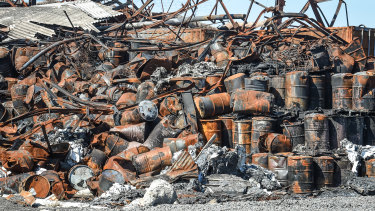 Burnt drums left behind after the warehouse fire in Tottenham.