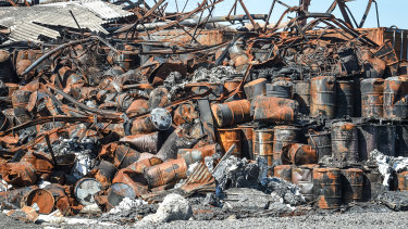 Burned drums left behind after the warehouse fire in Tottenham
