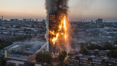 London's Grenfell tower burns in June 2017.