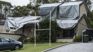 Karl Baxter's roof was badly damaged in the storm.