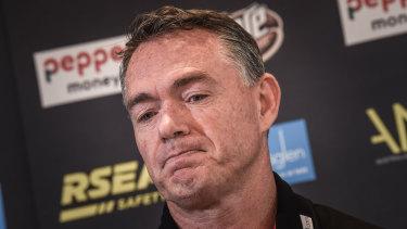 Alan Richardson at his exit press conference.