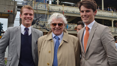 Bart Cummings with his grandsons Edward and James, also trainers, at Randwick in 2012.