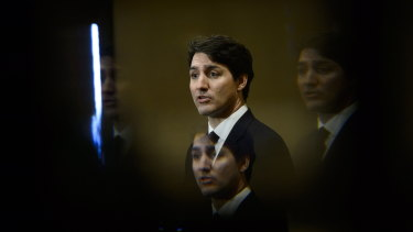 Prime Minister Justin Trudeau at a ceremony to apologise for past wrongs to Canada's indigenous community.