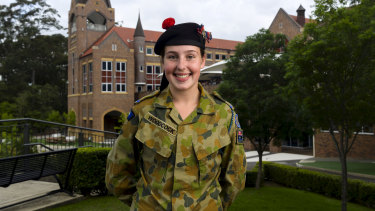 Emma Woodcock is the first girl to head the Knox  Grammar cadet unit.