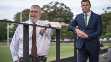 Shane Richardson with South Sydney CEO Blake Solly after Richardson's announcement that he would leave the club to save money due to the coronavirus crisis.