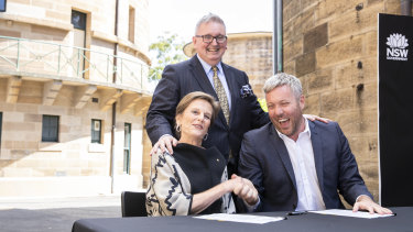 National Art School chair Carolyn Fletcher, Arts Minister Don Harwin and Craig Limkin at the signing on Monday.