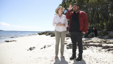 Federal Environment Minister Sussan Ley with Booderee board of management chairman Clive Freeman at Murrays Beach, Jervis Bay.