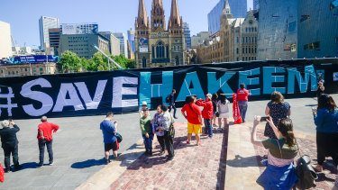A February 1 rally in Melbourne's Federation Square calls for freedom for Hakeem al-Araibi.