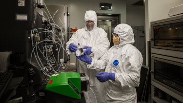 Scientists work at the CSIRO Clayton manufacturing facility, which is attempting to produce a coronavirus vaccine.