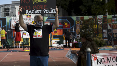 Former police officer Stephen Bell at a Lismore Black Lives Matter protest in July.