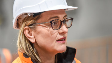 Senior government minister Jacinta Allan speaking to reporters on Friday morning.