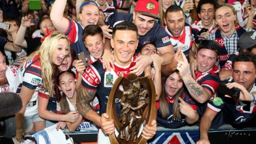 Sonny Bill Williams celebrates the 2013 NRL premiership with the Roosters fans.