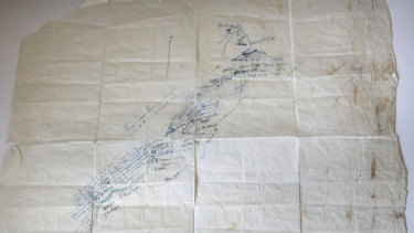 The map Tom Phelps drew on baking paper.