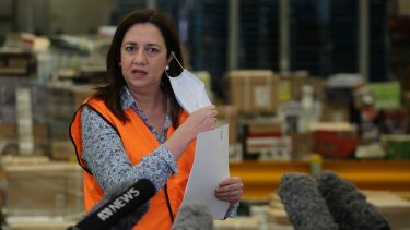 Queensland Premier Annastacia Palaszczuk fronts a COVID-19 press conference at Metcash Export Services in Crestmead, Brisbane.