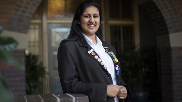 Angelina Arora, a student at Sydney Girls School.
