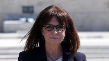 Greece's first female president Katerina Sakellaropoulou at the Tomb of the Unknown Soldier after being sworn in.