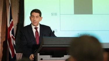 Queensland Treasurer Cameron Dick briefs the media in Brisbane during the 2021-22 budget lock-up.