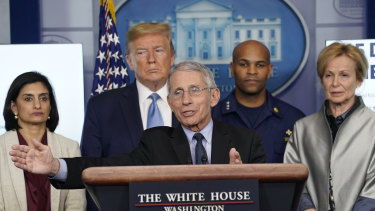 Coronavirus taskforce: Dr Anthony Fauci speaks while Seema Verma, administrator of the Centres for Medicare and Medicaid Services, President Donald Trump, Surgeon-General Jerome Adams and Dr Deborah Birx, White House coronavirus response coordinator, listen, in March.