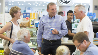 Former prime minister Tony Abbott meets voters at Bridgepoint Shopping Centre in Mosman on Saturday.