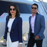 Craig Wing and his wife Johanna board the yacht on Friday.