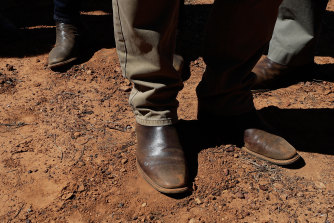 Prime Minister Scott Morrison's RM Williams boots pictured during a visit to farms in Queensland.