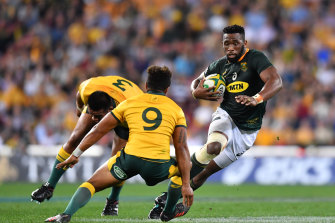 Siya Kolisiin action for the Springboks during the 2018 Rugby Championship.